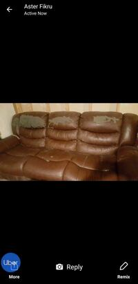 brown leather 3-seat sofa 24 mi