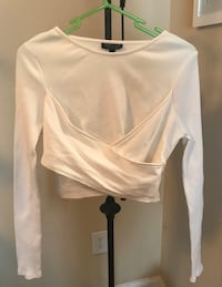 Women's White Ribbed Top - Wrap Style Crop Top - Size 8 (S)