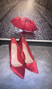 Ruby red satin heels size 8