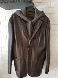 brown leather zip-up hoodie jacket
