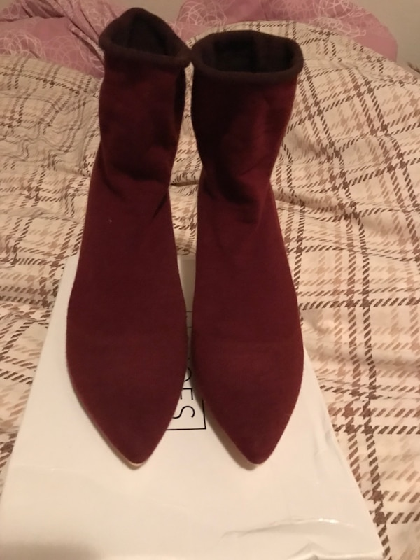 Slim sock boots burgundy