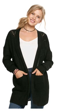 Black Pointelle Cardigan Size M Brooklyn
