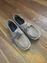 pair of gray leather boat shoes Hampton, 23669