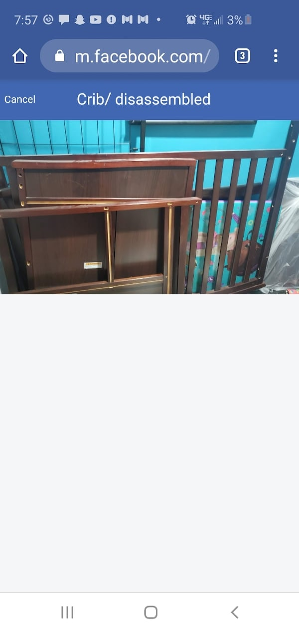 Crib with changing table. Converts to toddler bed  1006782e-bbaa-4d65-afd8-ab55aa47ecd8