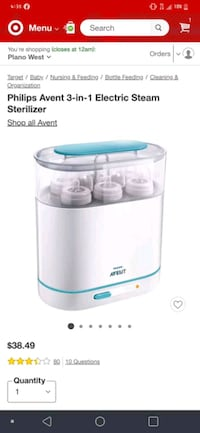 Phillips avent 3-in-1 electric steam sterilizer Carrollton, 75006