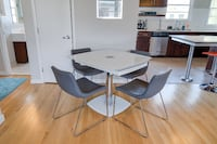 High End 5 Piece Dinette / dining Table Set White Glass + Leather 2281 mi