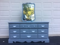 Solid Wood Long Dresser With Mirror Gray With White Handles  Manassas, 20112