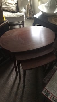 round brown wooden table with four chairs dining set 387 mi
