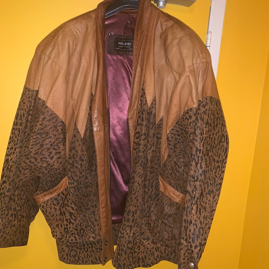 VINTAGE MILANO LEATHER LEOPARD PRINT JACKET 0