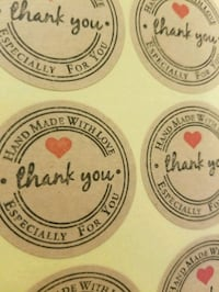 500 Rustic Thank you stickers
