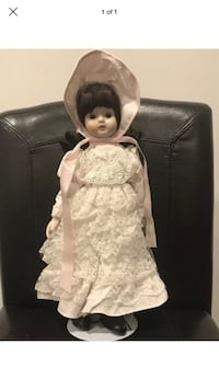 Porcelain doll in white ruffle dress with stand Crown Point, 46307
