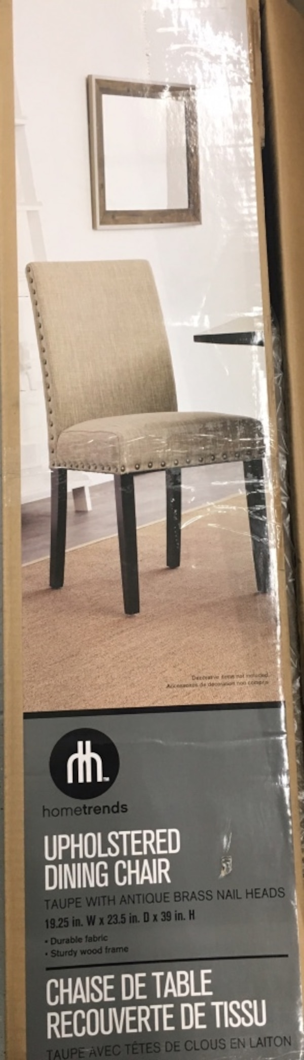 (1) New Mainstays Upholstered Dining Chair- Taupe 956b0416-7fc1-498d-8c01-38d20e8e8230