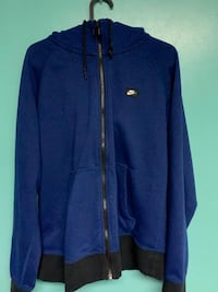 Nike AW77 French Terry Shoe Box Blue Full Zip Hoodie Mens Size M
