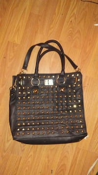 black leather studded tote bag Calgary, T3C 0W2