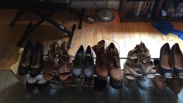 four pairs of assorted shoes
