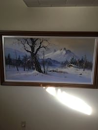black bare tree with mountain background painting with black frame