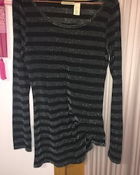 New DKNY slanted striped sparkly top