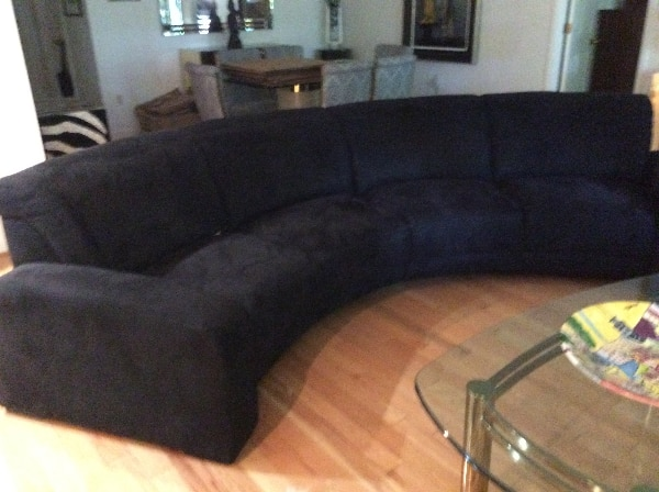 black microfiber curved sectional sofa