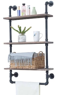 Industrial pipe Bathroom Shelves Wall Mounted 3 Tiered Rustic 24in