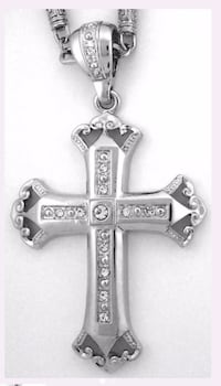 silver-colored encrusted crucifix pendant necklace