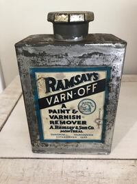 RARE ANTIQUE RAMSAY'S VARN-OFF CAN, Paint varnish remover Canada Ottawa, K0A
