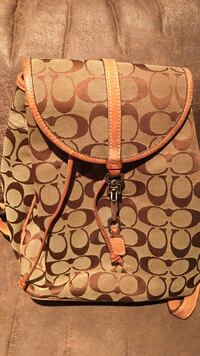 Women's gray and brown Coach knapsack Hasbrouck Heights, 07604