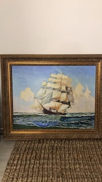 painting of brown and white galleon ship Stamford, 06901