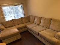 brown suede sectional sofa with throw pillows NEWYORK