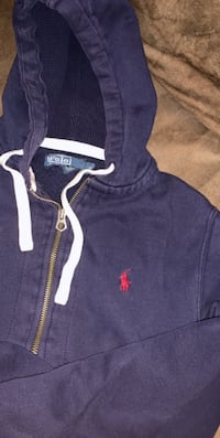 Polo Hoodie Navy Blue Red Horse Size Small