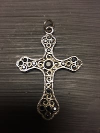 "Black cross pendant with oynx stones 2""x 1 1/2"" Edmonton, T5Y 2B6"