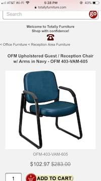 Black and blue metal armchair