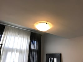 3-Light Pewter Clip Flushmount Ceiling Light with White Marbled Glass.