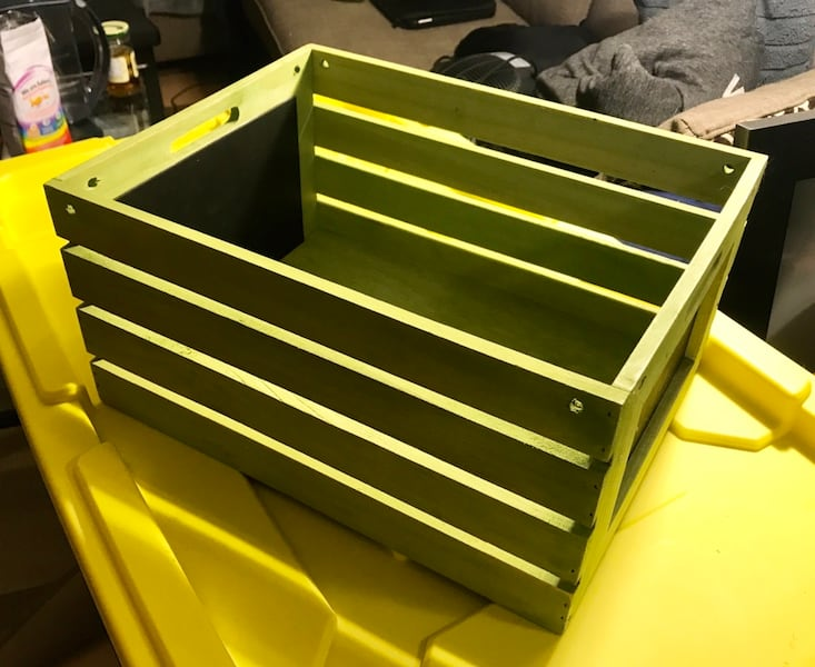 "Wooden Crate - lime green - 18"" x 12"" 3"