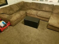 brown suede sectional sofa with ottoman Stockton, 95212