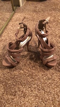 pair of gray open-toe ankle strap heels Colorado Springs, 80918