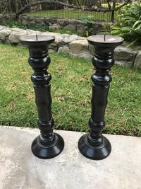 Two black wooden candle sticks Glendale, 91208