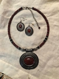 DEEP RED, SILVER AND BLACK BEADED NECKLACE WITH MATCHING EARRINGS Amarillo, 79121
