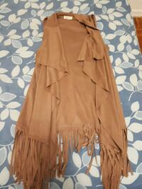 brown sleeveless cardigan with fringes Toronto