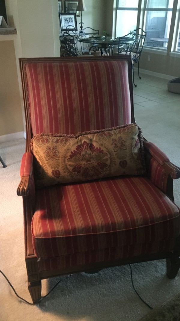 Red and brown fabric stripe sofa chair