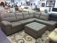 SECTIONAL LEATHER COUCH WITH OTTOMAN GREY Cambridge