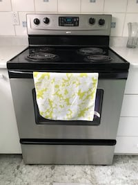 black and grey 4-coil electric range oven