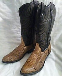 brown-and-black leather j-toe western cowboy boots