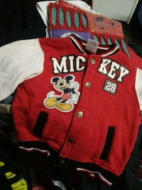 red and white Chicago Bulls letterman jacket Lubbock, 79424