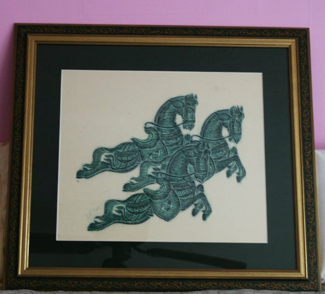 Authentic 1960s Thai Temple Rubbing Vivid Green Framed 3 Leaping Horses Abundance  5