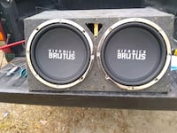 two black MTX Audio subwoofers with enclosure Houston, 77039
