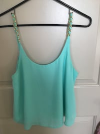 women's teal and white spaghetti strap top