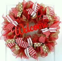red, brown, and white door wreath Corpus Christi, 78413