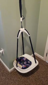 white and purple floral swing chair