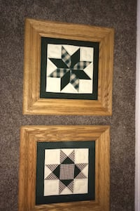 Framed quilted squares. Green and ivory backgrounds. Robesonia, 19551
