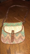orange, and teal chevron crossbody bag